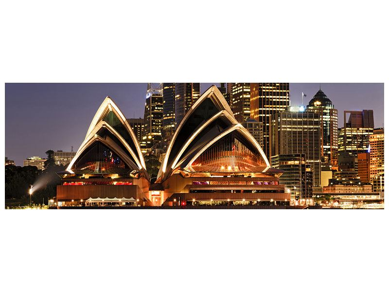 Panoramic Poster Skyline With The Boat In Front Of Sydney