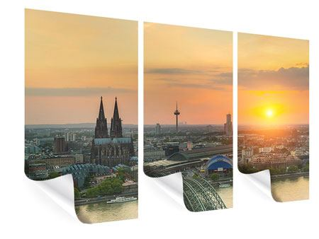 3 Piece Poster Skyline Cologne At Sunset
