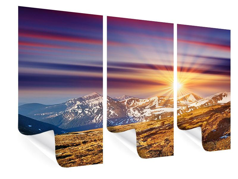 3 Piece Poster Majestic Sunset At The Mountain