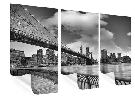 3 Piece Poster Skyline Black And White Photography Brooklyn Bridge NY
