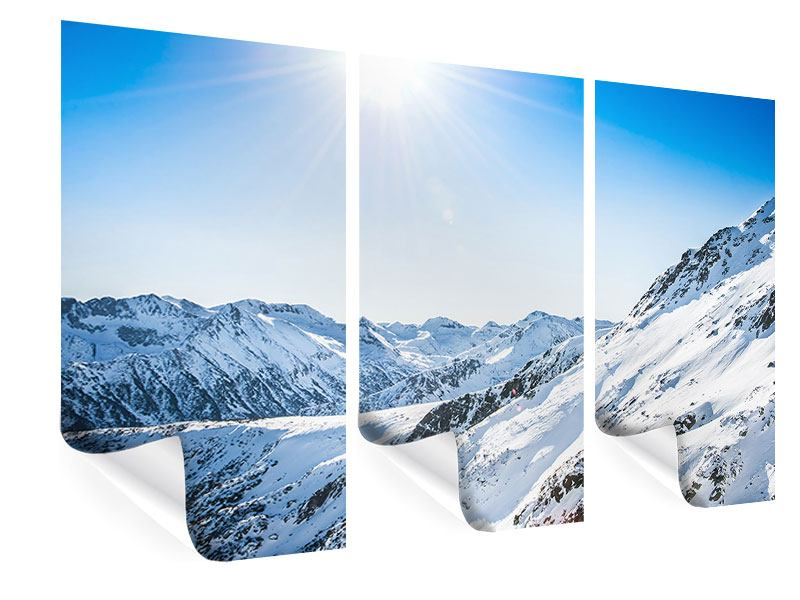 3 Piece Poster Mountain Panorama In Snow