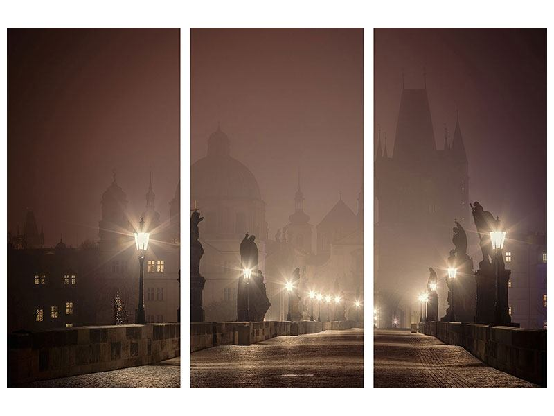 3 Piece Poster Charles Bridge At Night