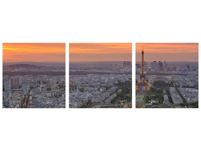 Poster en 3 parties Panoramique L'horizon à Paris au coucher soleil