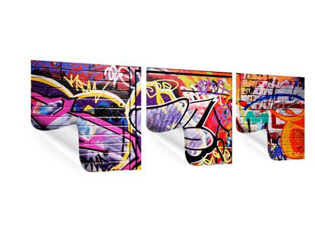 Panoramic 3 Piece Poster Graffiti Wall Art