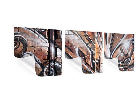 Panoramic 3 Piece Poster Graffiti Wall