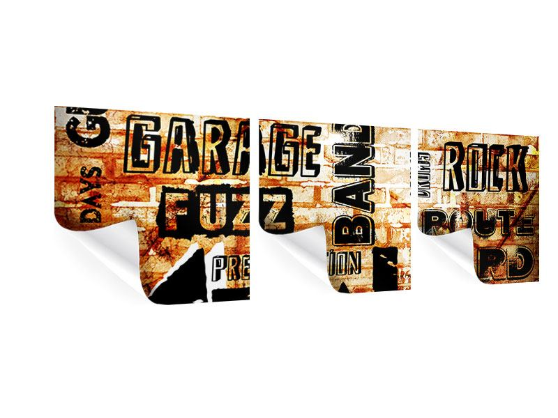 Panoramic 3 Piece Poster Rock In Grunge Style