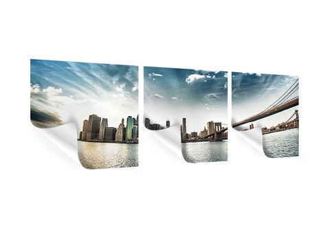 Panoramic 3 Piece Poster Brooklyn Bridge From The Other Side