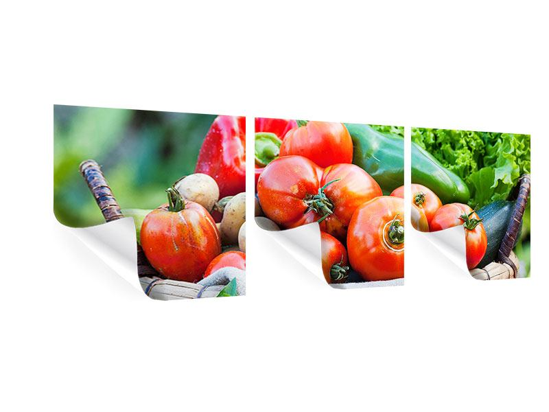Panoramic 3 Piece Poster Vegetable Basket