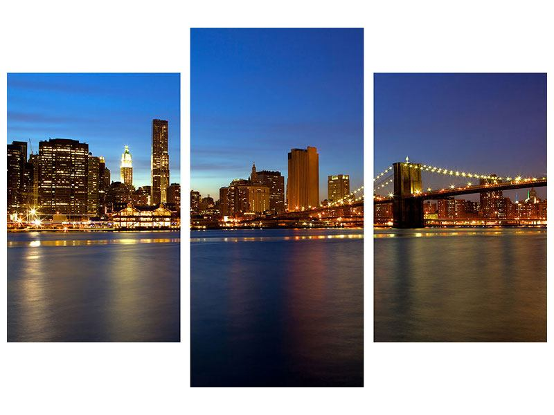 Modern 3 Piece Poster Skyline Manhattan In Sea Of Lights