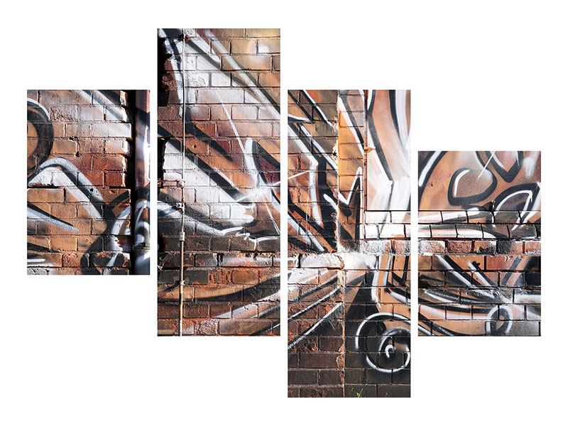 Modern 4 Piece Poster Graffiti Wall