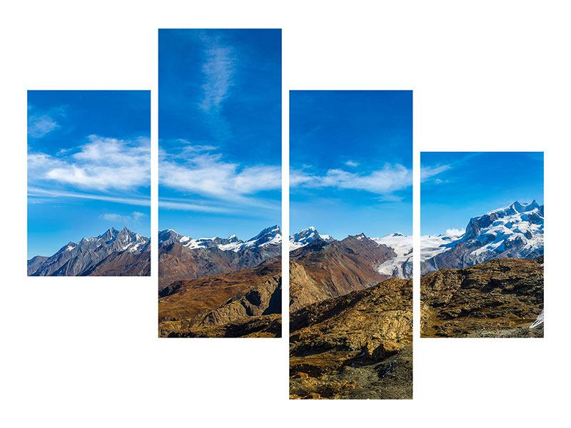Modern 4 Piece Poster Swiss Alps In Spring