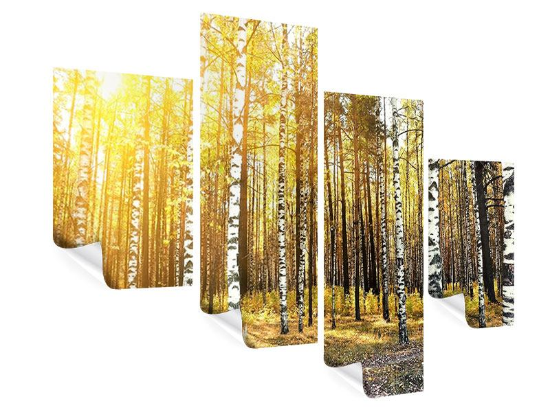 Modern 4 Piece Poster Birch Forest