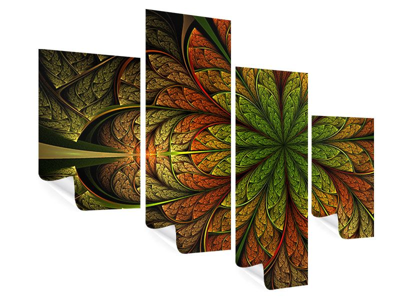 Modern 4 Piece Poster Abstract Floral Pattern