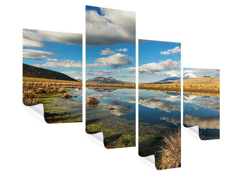Modern 4 Piece Poster Water Reflection on Lake