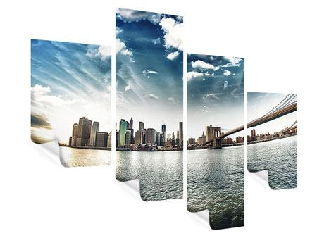 Modern 4 Piece Poster Brooklyn Bridge From The Other Side