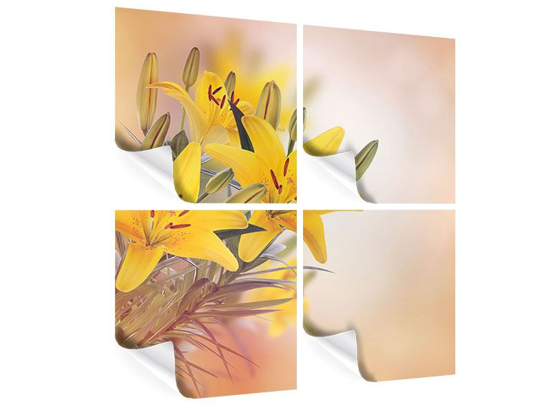 4 Piece Poster Yellow Lily Trio