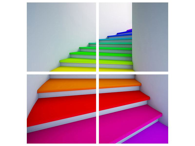4 Piece Poster Colorful Stairs