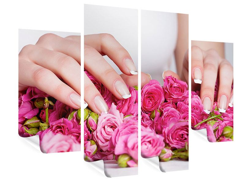 4 Piece Poster Hands Bed Of Roses