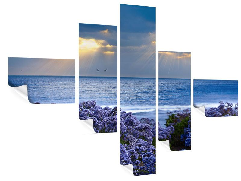 Modern 5 Piece Poster Lavender And Sea