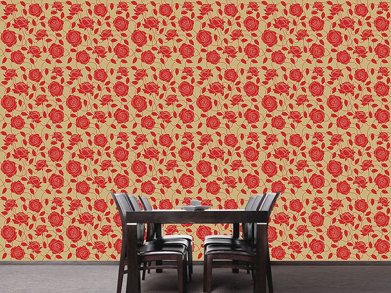 Design Wallpaper Briar Rose Red And Brown