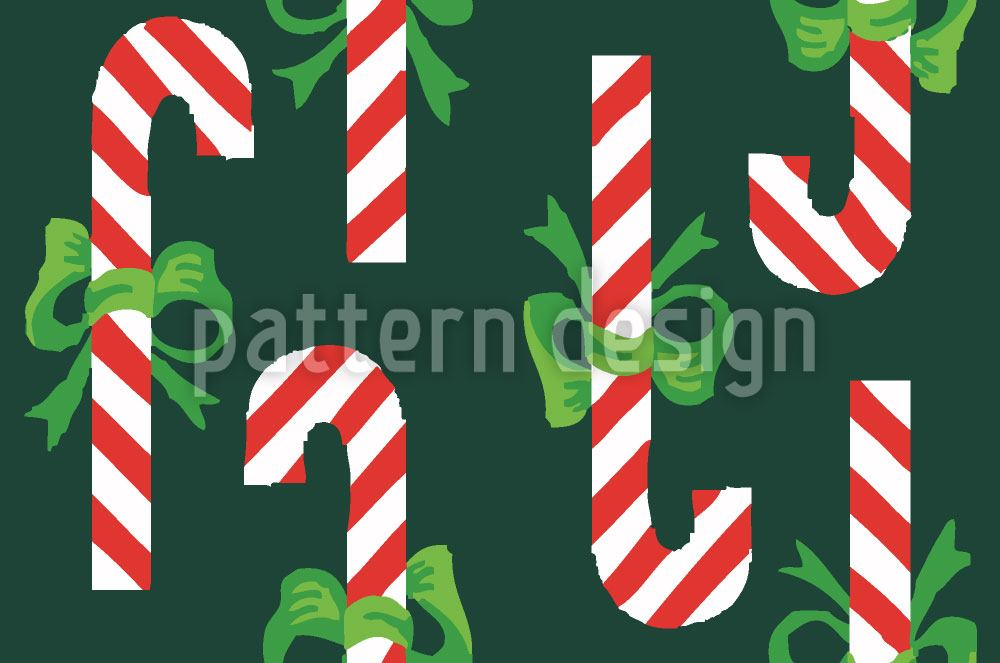 Carta da parati Candy Canes Green