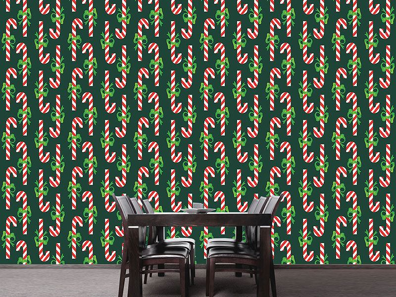 Design Wallpaper Candy Canes Green