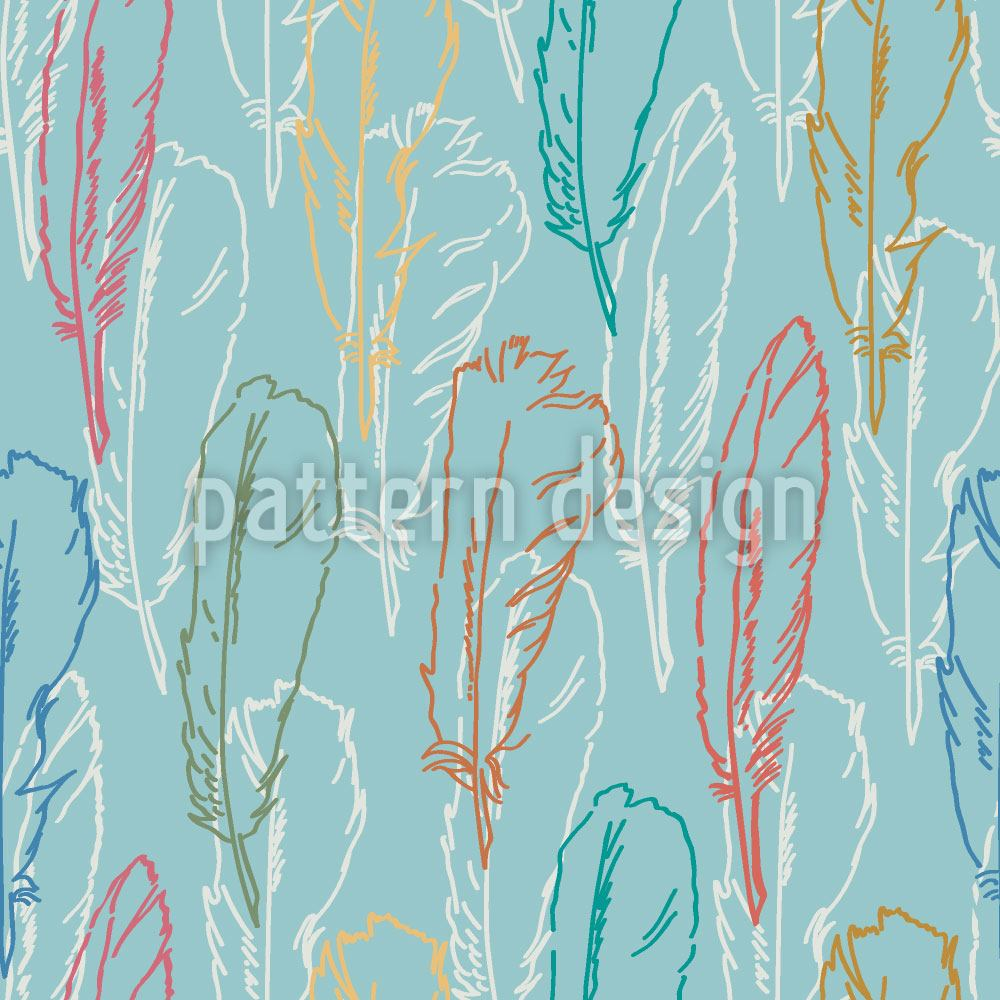 Carta da parati Feathers Handdrawn Azur