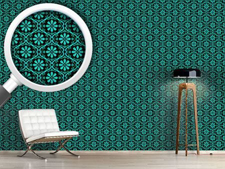 Design Wallpaper All Over Turquoise Flowers
