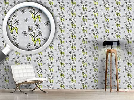 Papier peint design Daisy Flowers Grey