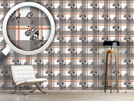 Design Wallpaper Checked Pattern With Skulls
