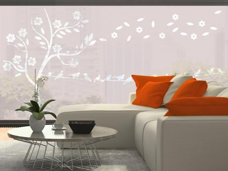 Window Foil Blossom tree with flock of birds