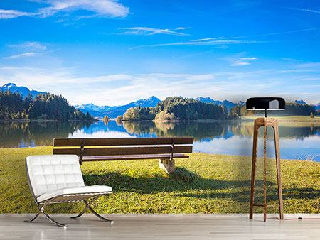 Photo Wallpaper Bench With Mountain Panorama