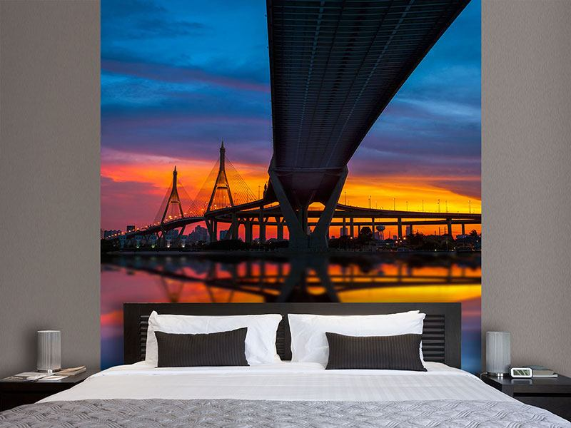 Papier peint photo Bhumibol Bridge au coucher de soleil